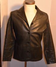 WOMEN'S GAP BLACK LEATHER JACKET! BUTTON FRONT! TWO POCKETS! LIGHTWEIGHT! S