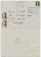 SWITZERLAND POSTAGE DUE from GB MACHIN 1987 PENALTY 22p + 4p...CHARGED 70c