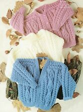 Baby Knitting Pattern Vintage Aran  Cardigans and Sweater  size 22- 32 inch #402