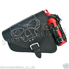 HARLEY DAVIDSON SPORTSTER BLACK LEATHER  LEFT SINGLE SADDLEBAG SKULL + 1L BOTTLE