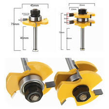 Tongue & Groove Router Bit Set 3/4'' Stock 1/4'' Shank for Wood Flooring-2Pcs