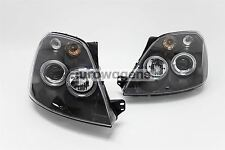 Ford Fiesta MK6 02-07 Black Projector Angel Eyes Headlights Set Pair