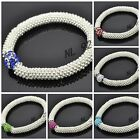 WHOLESALE 10mm Crystal Clay Bead SHAMBALLA STYLE Snowflake Stretch Bracelets