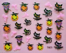 Halloween Nail Art Stickers Decals Neon Glitter Pumpkins Cats Gel Polish (03)
