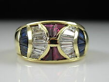 Roberto Legnazzi Ruby Sapphire Diamond Ring 18K Yellow Gold Band $7500