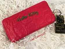 HELLO KITTY RED EMBOSSED FACE ZIP AROUND LONG WALLET WITH GOLD ACCENTS NEW! ��
