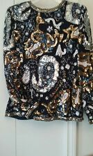 Lawrence Kazar's Navy Blue Evening Top w/Sequins & Beads, Sz M