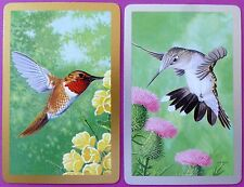 PAIR SWAP CARDS. HUMMINGBIRDS WITH FLOWERS. ARTIST J K TORLANE. CONGRESS
