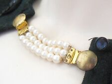 Vintage 1960's 70's gold tone faux pearl chain sweater clip guard*mid century
