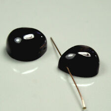 1 pair natural pear shape 12.5x12x7mm black high polished Black Star Sapphire