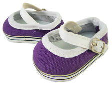 Purple Canvas Mary Jane Sneakers Shoes for Bitty Baby + Twins Doll Accessories