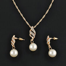 Stylish Bridal Wedding Party Jewelry Set Crystal Pearl Pendant Necklace Earrings