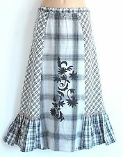 Grey Check 100% Cotton DNY Quirky Embroidered Ladies Women's Country Skirt Sz XL