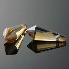4 Pieces 8x20mm Swarovski cone-shape crystal beads A golden-Amber