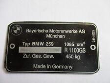 Typenschild Schild BMW R 1100 R1100GS GS s25 Motorrad ID-plate placca