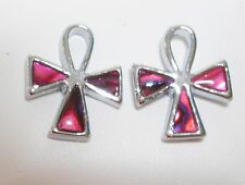 Pink Faux Abalone Shell Silver Tone Cross Stud Earrings 15 x 12mm on posts