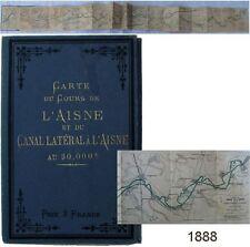 Carte du cours canal latéral de l'Aisne 1888 Vuillaume navigation batellerie