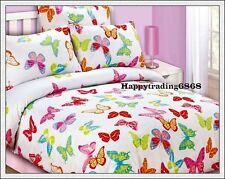 Butterfly White Pink Red Green * DOUBLE Quilt Doona Duvet Cover + 2 Pillowcases