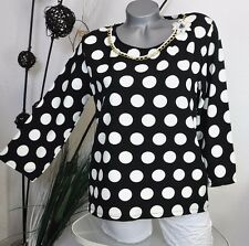 NEU  ITALY A-FORM STRETCH 3/4 ARM BLUSE SHIRT POLKA DOTS  MUSTER COLLIER 36 38