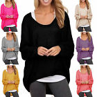 UK 8-24 Womens Casual Oversized Slouchy Knit Sweater Pullover Blouse Baggy Tops