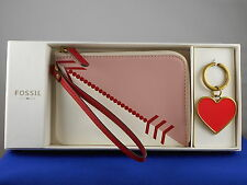 Fossil Pink Multi Arrow BRENNA Wristlet Red Heart Keychain Key Fob Gift Box Set