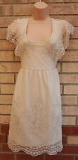 PRIMARK CREAM FLORAL EMBROIDERED LACE CROCHET BOHEMIAN VTG TUNIC DRESS 14 L