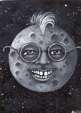 ACEO full moon face glasses smile original painting by MOTYL