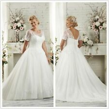 PLUS size White/Ivory Wedding Dress Bridal Gown Custom Size18+20+22+24+26+28+30+