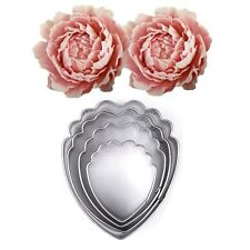 4Pcs Stainless Steel Peony Flower Cookie Cutters Biscuit Jelly Fondant Cake Mold