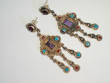 Spectacular Long 925 Sterling Silver Post Earrings w/Amethyst, Coral, Turquoise