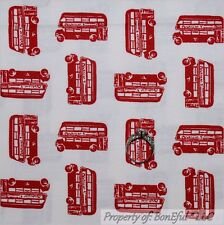 BonEful Fabric FQ Cotton Quilt White Red London British England EURO City Sm Bus