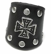 NEU 22mm/69 Lederring RING Echt Leder KREUZ CROSS Metall NIETEN Top Gothic