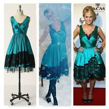 Anthropologie Plenty by Tracy Reese Snow Queen Dress blue green black lace 6