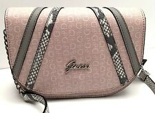 "GUESS XBody Messenger Bag*Alton"" Blush/Gray Snake Print G logo Shoulder Purse"