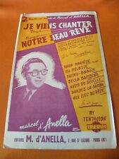 Partition Je viens chanter Notre beau Rêve Tango Marcel d'Anella