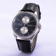 43mm Parnis Seagull Automatic Power Reserve Men's Wristwatch Gray Dial Watch
