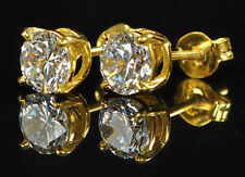 Top Quality Round  2.50ct Diamond 18K Yellow Gold Over Solitaire Stud Earrings#R
