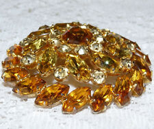 Sparkly Vintage SHERMAN Gold Tone Amber-Citrine Rhinestone Brooch/Pin  W75*