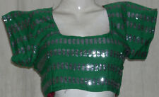 "Indian Saree Blouse Top Choli Embroidered Tribal Fusion Belly dance max 40"" bust"