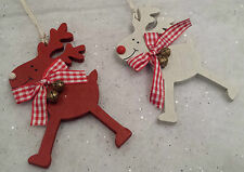 2 x Reindeer Wooden Christmas decoration Red & White With Jingle bells Ribbon