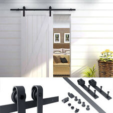 6 FT Country Frosted Black Steel Sliding Barn Wood Door Closet Hardware Ant