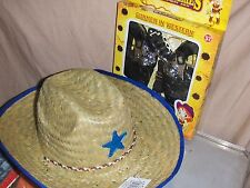 1 Cowboy hat & 2 TOY Cowboy Gun Pistol  WILD WEST Play set BADGE BELT HOLSTER