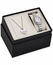Bulova Women's 96X133 Diamond Accent Watch with Mom Heart Pendent Box Set