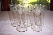Lot of 5 Central Glass Works Etch #6- Grape Design 12 Ounce Tumblers