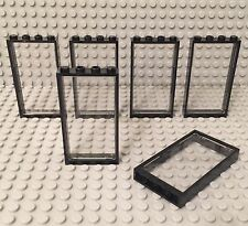 Lego X6 New Black Door Frame 1x4x6 With Trans-clear Glass Window Wall Parts Lot
