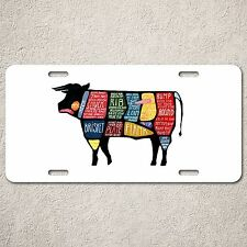 LP0077 Beef Meat Chart Auto License Plate Sign Rust Vintage Home Store Decor