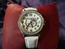 Woman or Girl's Hellow Kitty Watch with Genuine Leather Band **Nice** B29-616