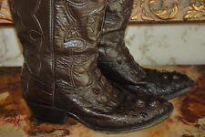LIBERTY MENS HORNBACK CAIMAN CROCODILE ALLIGATOR BROWN COWBOY BOOTS SZ 9 EE
