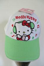 HELLO KITTY Basecap 52, Cap Kappe weiß grün m Stickerei Musik, Katze Ohrhörer