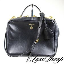 ULTRA RECENT Mark Cross Black Calf Leather Camera Bag Gold HW + Strap NR KILLER
